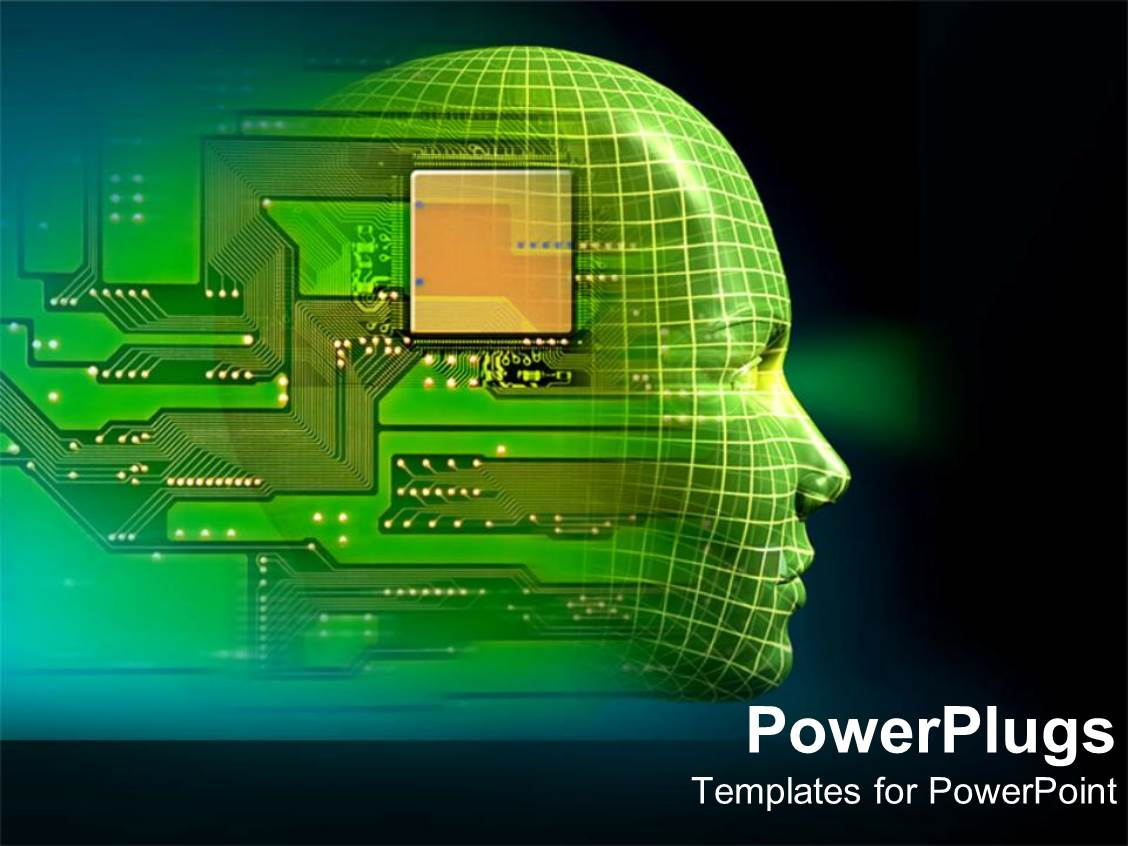 Android powerpoint templates ppt themes with android backgrounds beautiful presentation with printed circuit board embedded in human head depicting robotics toneelgroepblik Gallery