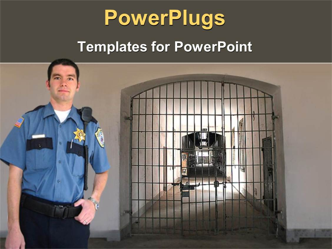 5000 prison powerpoint templates w prison themed backgrounds elegant ppt theme enhanced with prison guard in uniform poses in jail block toneelgroepblik Image collections