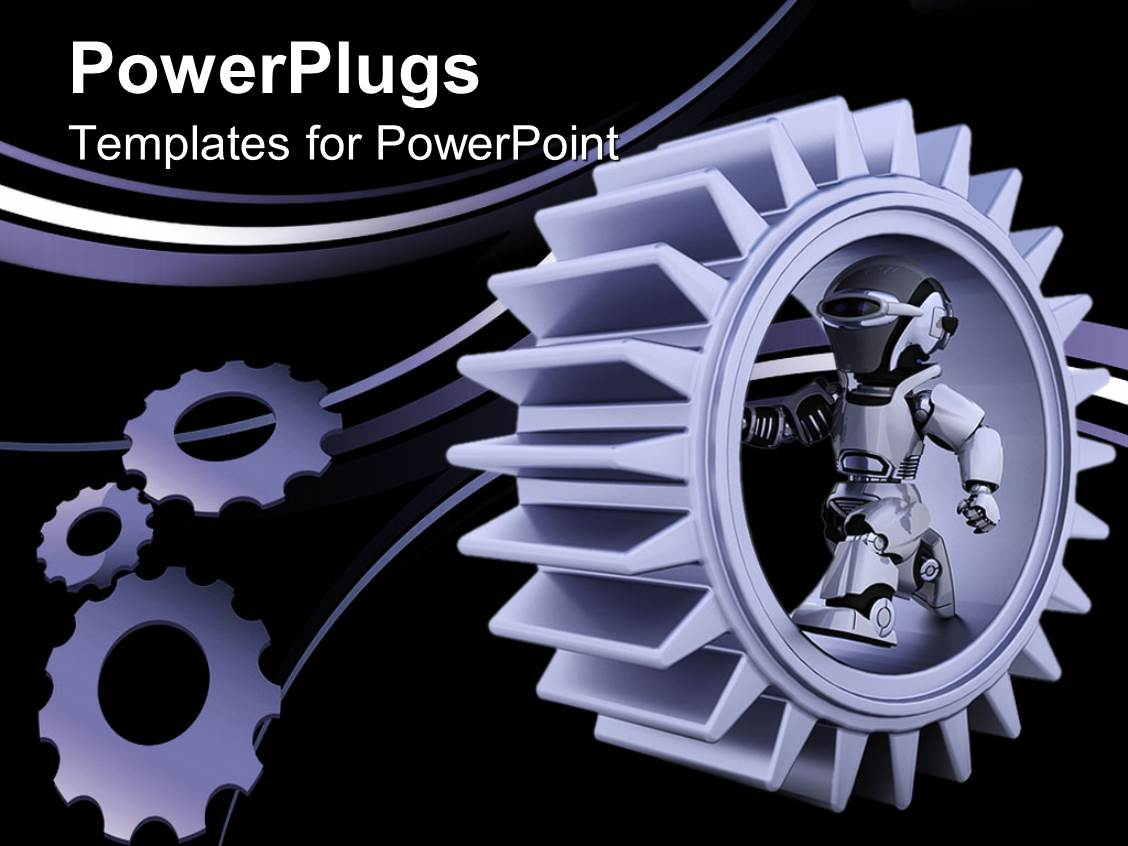 PowerPoint Template: purple gear mechanism with robot and ...