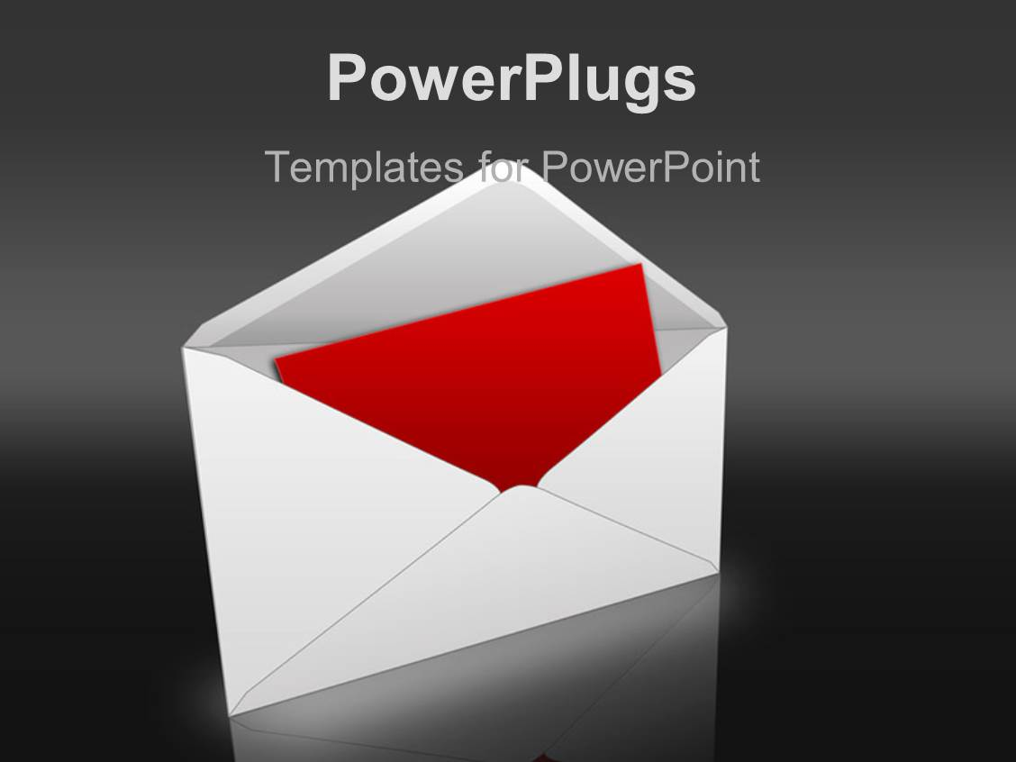 PowerPoint Template Envelope flying into mailbox with flag up and