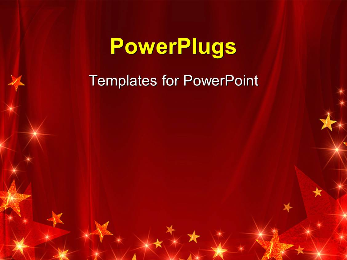 Powerpoint template big blue and red star logos on a red theme featuring red celebration background with glowing stars and sparkles alramifo Images