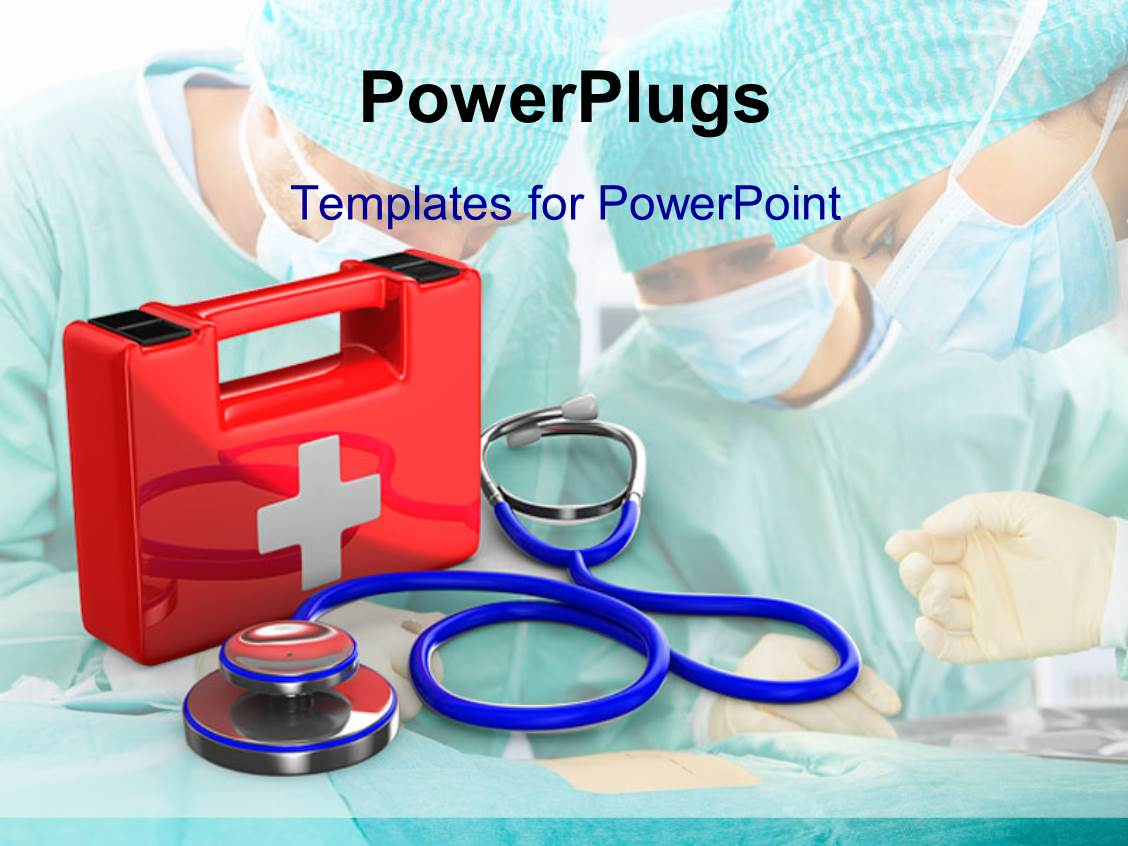 Powerpoint template red first aid kit with medical doctors kitted powerpoint template displaying red first aid kit with medical doctors kitted with masks on alramifo Choice Image