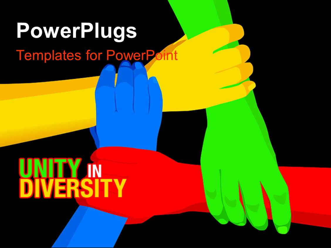 5000 unity diversity powerpoint templates w unity diversity themed slide deck consisting of red yellow blue green linked hands on black background toneelgroepblik Gallery