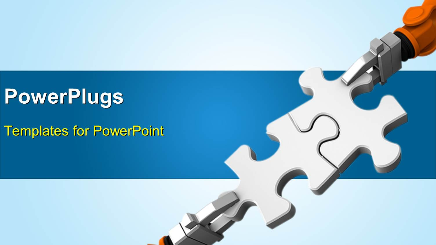 Automation powerpoint templates ppt themes with automation amazing ppt theme consisting of robot holding jigsaw puzzle piece on a blue background template size toneelgroepblik Gallery
