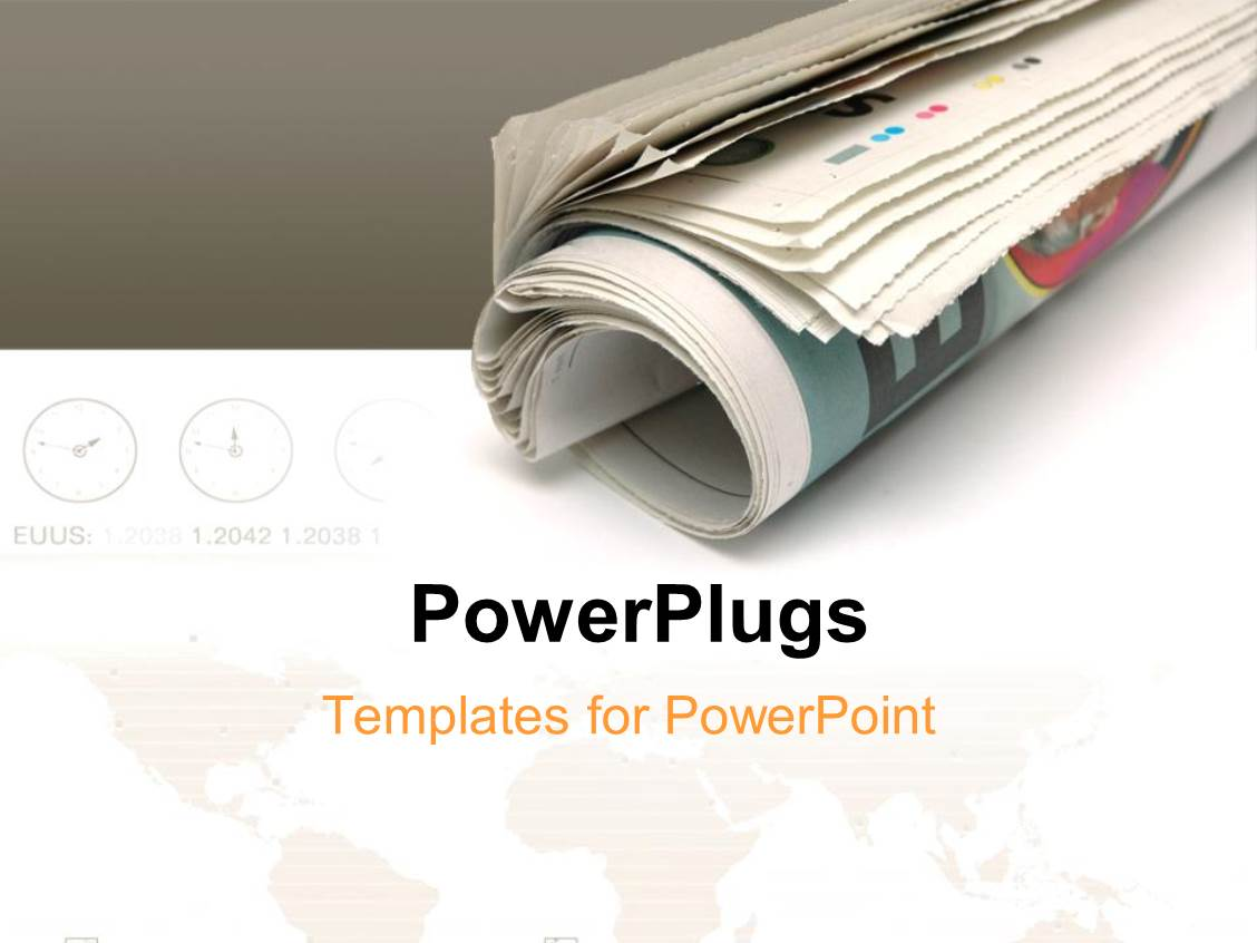 Powerpoint template roll of newspaper over white and grey powerpoint template displaying roll of newspaper over white and grey background with world map and different toneelgroepblik Image collections