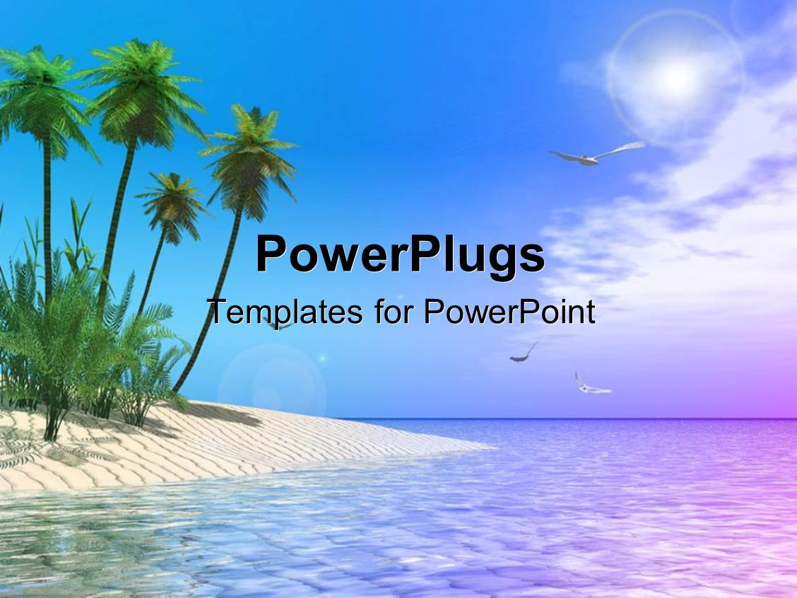 5000 beach powerpoint templates w beach themed backgrounds elegant presentation theme enhanced with scenery of tropical beach with palm trees and birds soaring in toneelgroepblik Gallery