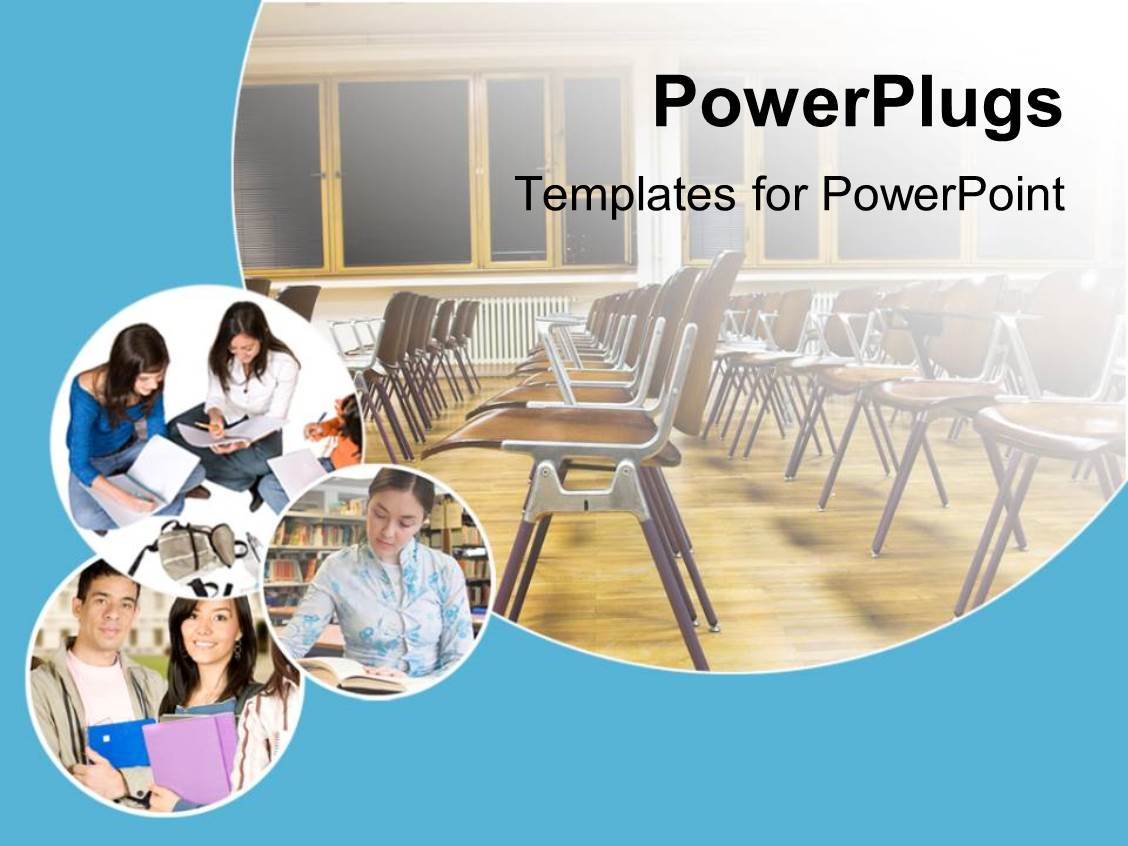 Powerpoint template learning depiction with kids studying in beautiful theme with school and education theme with classroom with chairs and windows and three toneelgroepblik Image collections