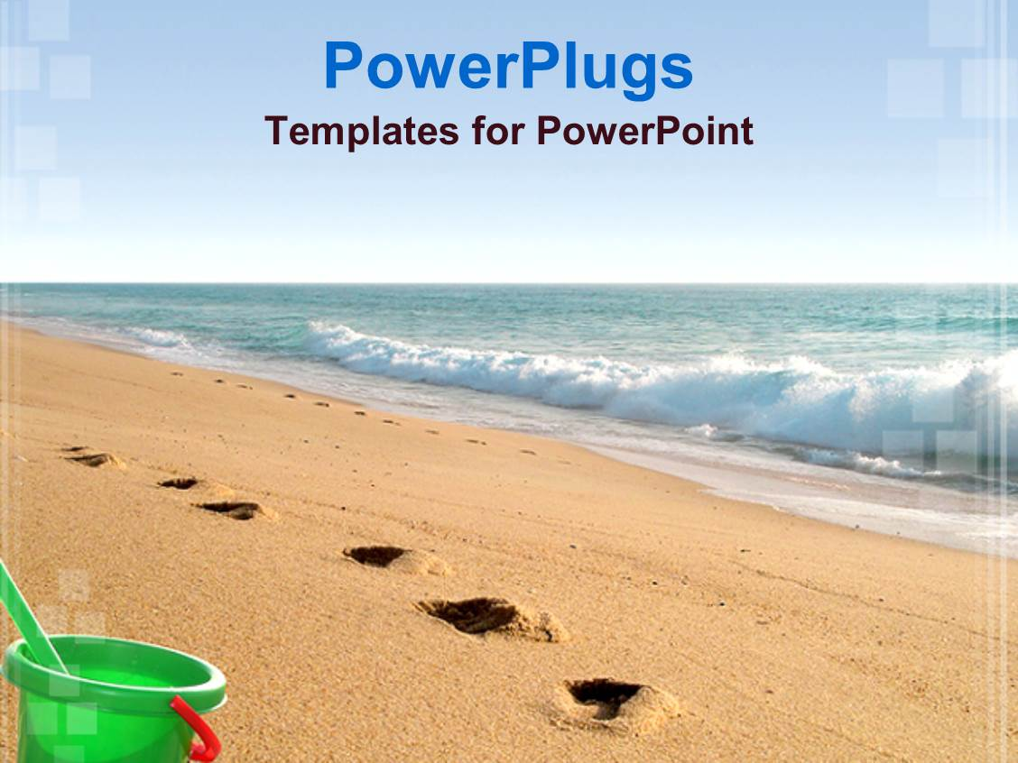 5000 beach powerpoint templates w beach themed backgrounds audience pleasing ppt theme featuring sea water and sandy beach with footprints and green bucket toneelgroepblik Image collections