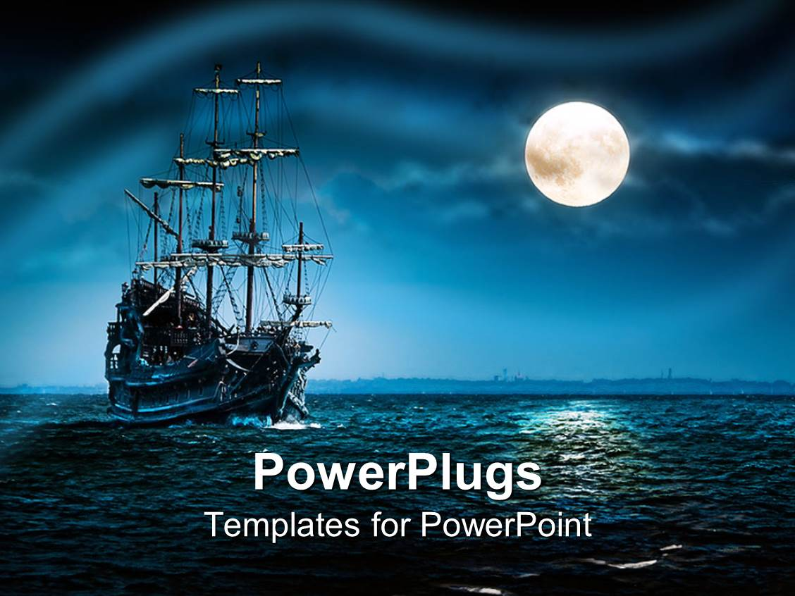 Mystery powerpoint templates ppt themes with mystery backgrounds beautiful presentation theme with a ship of pirates in a sea with moon shining on the template size toneelgroepblik Images