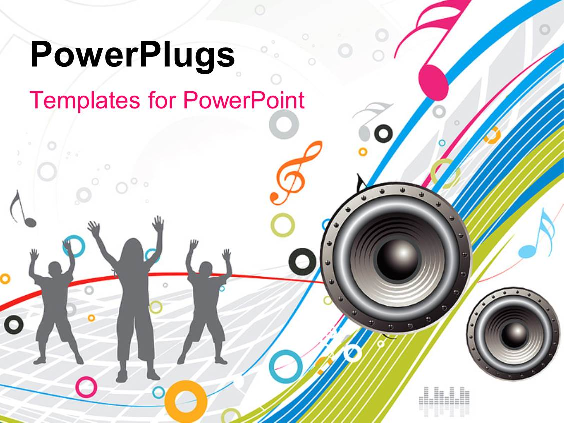 Powerpoint template 3d graphics of lots of people raising ther ppt theme featuring silhouette of grey people dancing to music with speaker and music symbols toneelgroepblik Gallery