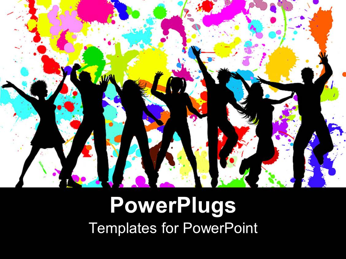 Top grunge powerpoint templates backgrounds slides and ppt themes ppt theme having silhouettes of dancing party goers white background splattered with bright colors template size toneelgroepblik Image collections
