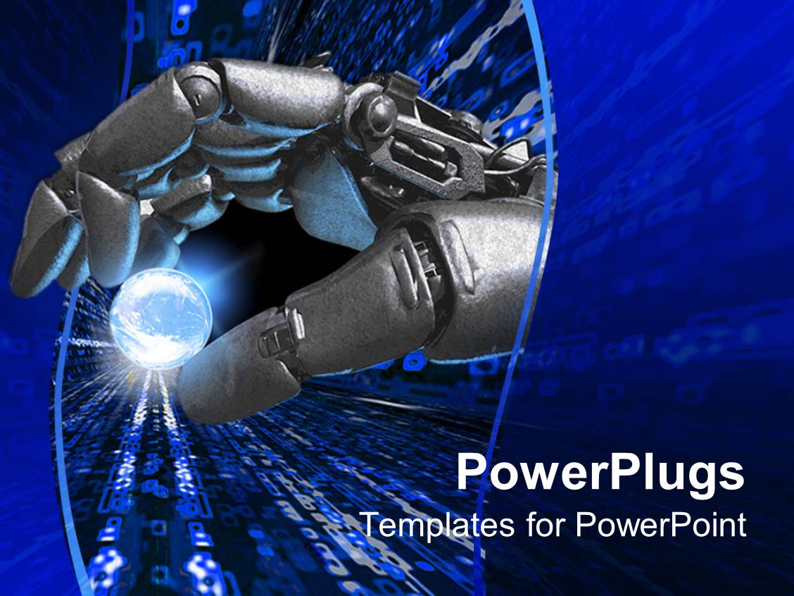 Robotic arm powerpoint templates crystalgraphics audience pleasing slide deck featuring silver robot hand holding a glowing earth planet representation between fingers template size toneelgroepblik Images
