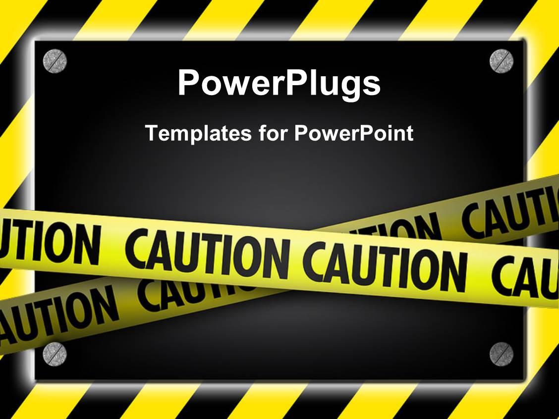 All powerpoint templates w all themed backgrounds ppt theme with silver screws glowing over yellow striped hazard toneelgroepblik Images