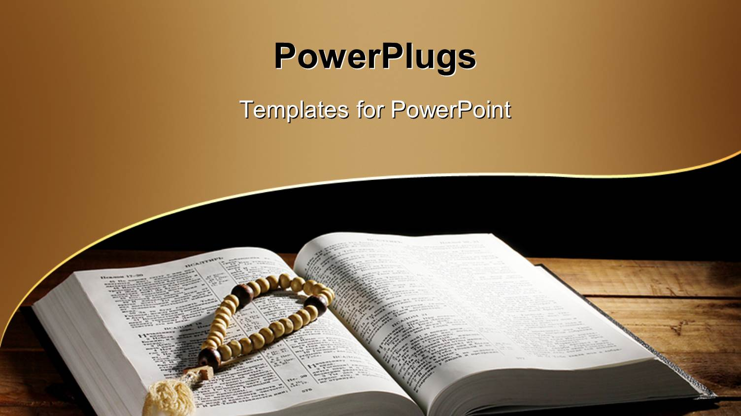 Holy bible powerpoint templates crystalgraphics elegant ppt layouts enhanced with a hand prayer rosary on an open holy bible template size alramifo Images