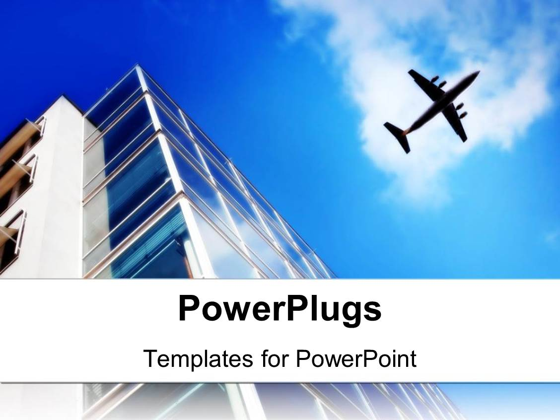 5000 aviation powerpoint templates w aviation themed backgrounds colorful presentation having skyscraper with large windows and flying plane on the light blue sky toneelgroepblik Gallery