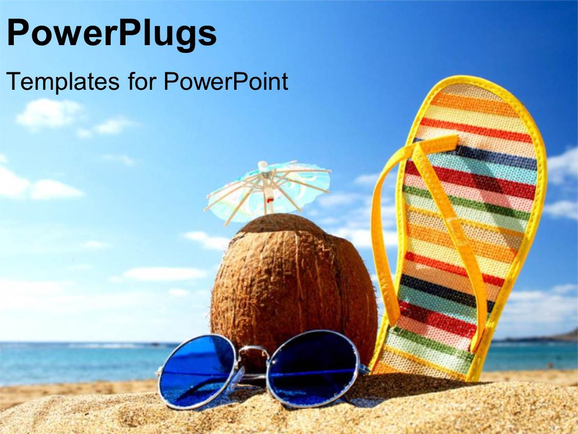 Powerpoint template a sleeper along with a coconut and sunglasses powerpoint template displaying a sleeper along with a coconut and sunglasses on a beach toneelgroepblik Images
