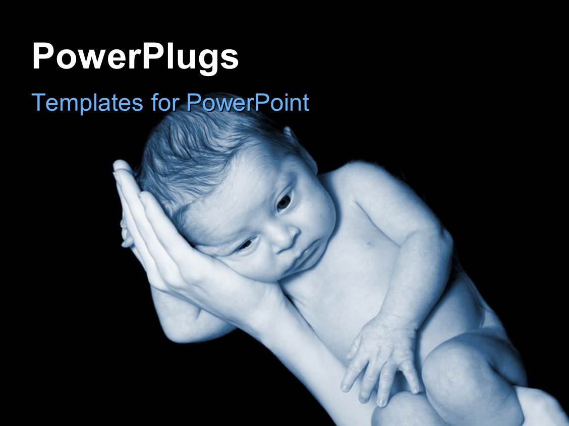 PowerPoint Template Displaying a small Baby Laying Sideways on his Mothers Hands