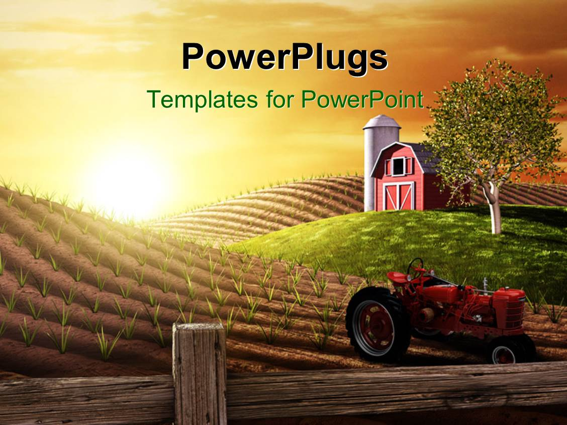 Farm powerpoint templates ppt themes with farm backgrounds colorful presentation theme having small red barn and tractor on farm at sunrise in spring toneelgroepblik Choice Image