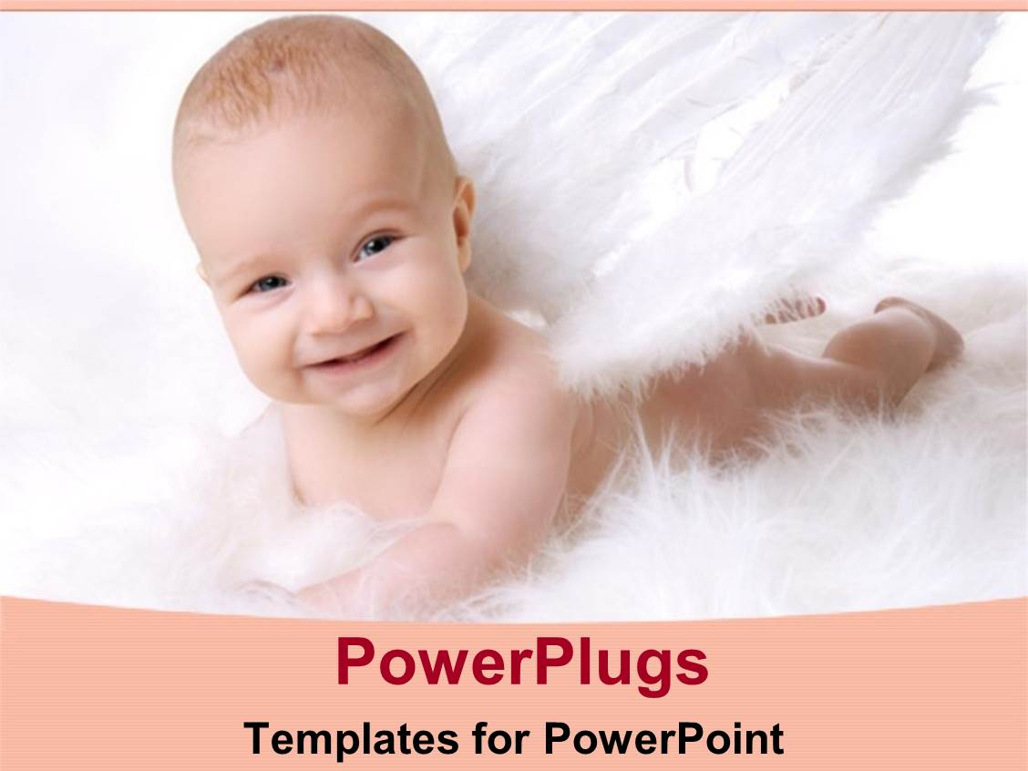 PowerPoint Template Displaying Smiling Baby Lying Down in Angel Costume in White Background