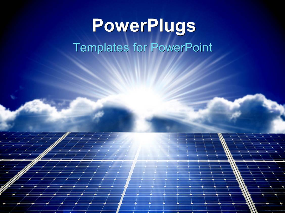 Solar energy powerpoint templates crystalgraphics colorful ppt theme having solar energy panels with beautiful sky in the background template size toneelgroepblik Choice Image