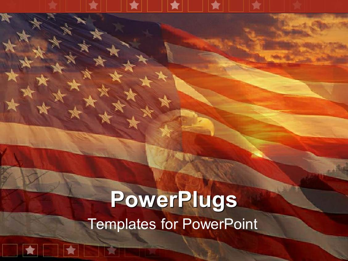 Eagle powerpoint templates ppt themes with eagle backgrounds presentation theme consisting of a sunset view of a bald head eagle over an american flag toneelgroepblik Images