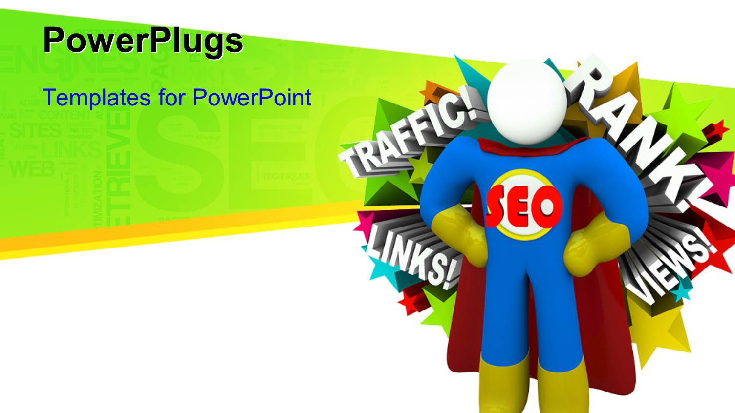 powerpoint template red seo sign in 3d in white background with