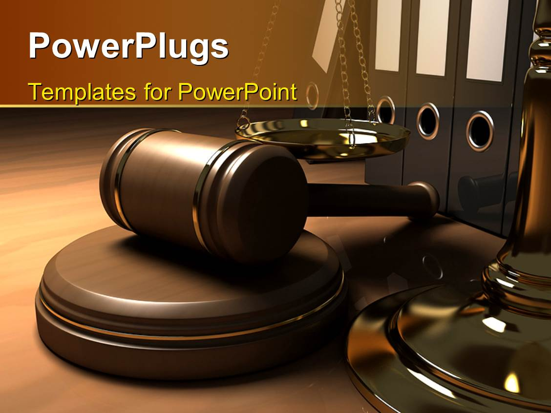 Powerpoint template legal systems with a gold scale for justice audience pleasing presentation design featuring a table with law gavel balance and law books toneelgroepblik