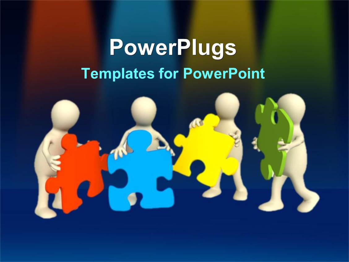 PowerPoint Template Displaying a Team of People Putting Together Multicolored Missing Puzzle Pieces as a Metaphor on a Blue Background