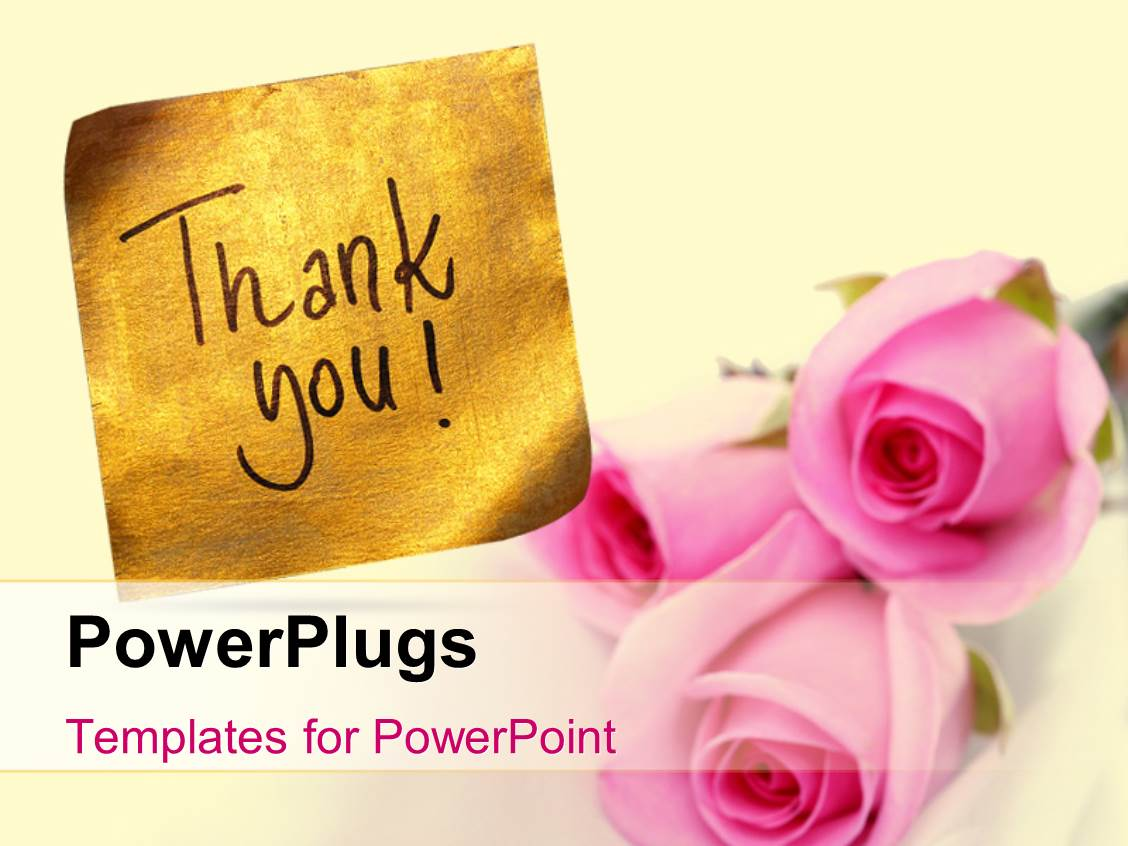 Powerpoint template bouquet of flowers with a thank you card 29332 audience pleasing slide set featuring thank you message handwritten on gold sticker with pink roses toneelgroepblik Choice Image