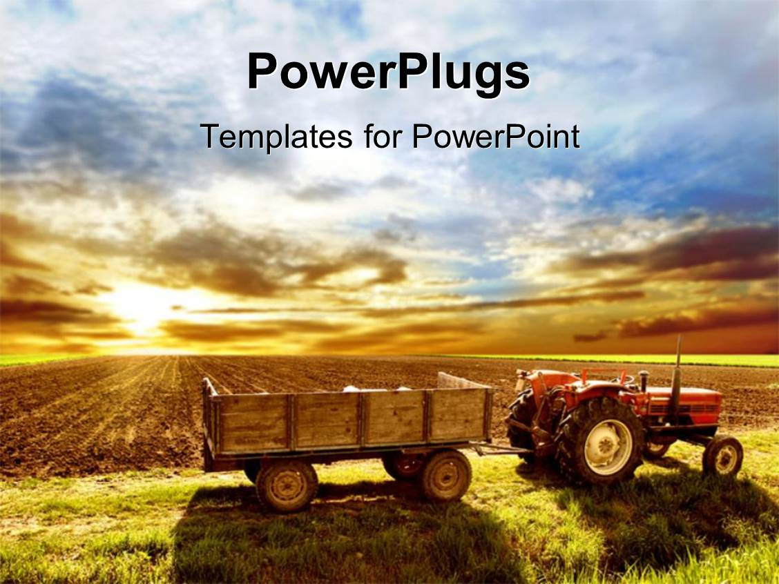 Agriculture powerpoint templates ppt themes with agriculture slide deck with a tractor trolly on a field toneelgroepblik Gallery
