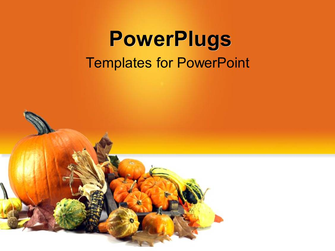 Powerpoint template halloween and thanksgiving theme with presentation design featuring traditional symbols of thanksgiving day pumpkins over orange background alramifo Choice Image