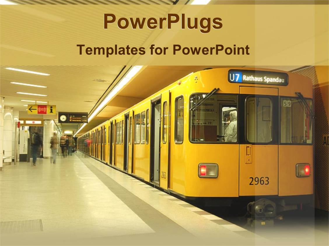 Metro powerpoint templates ppt themes with metro backgrounds beautiful ppt theme with a train station with a stopped train and a number of passengers template size toneelgroepblik Choice Image