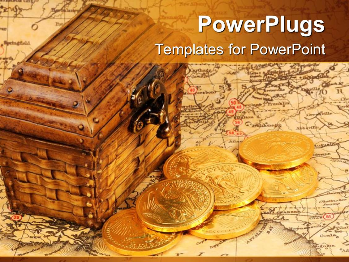 Pirate treasure powerpoint templates crystalgraphics pirate treasure powerpoint templates how to order more info presentation theme consisting of treasure box and treasure map with gold coins toneelgroepblik Images