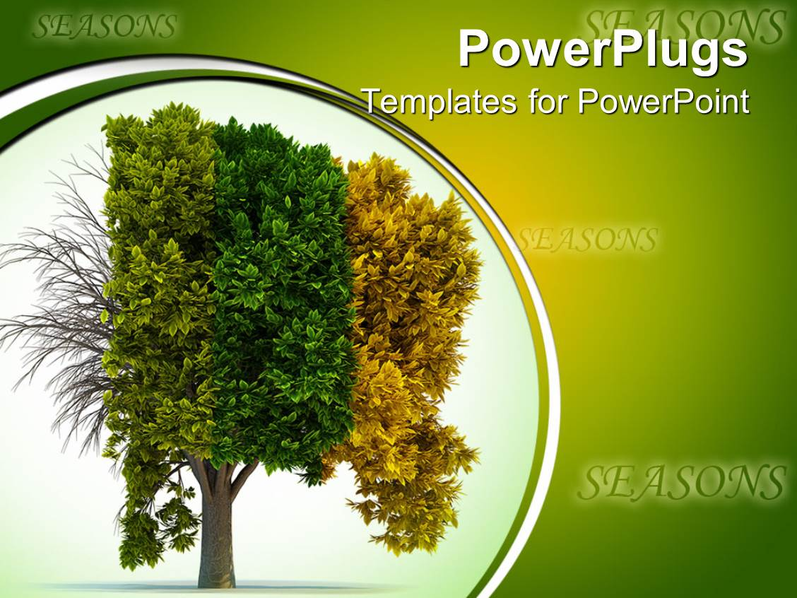 PowerPoint Template Displaying a Tree Depicting the Effect of Four Different Seasons