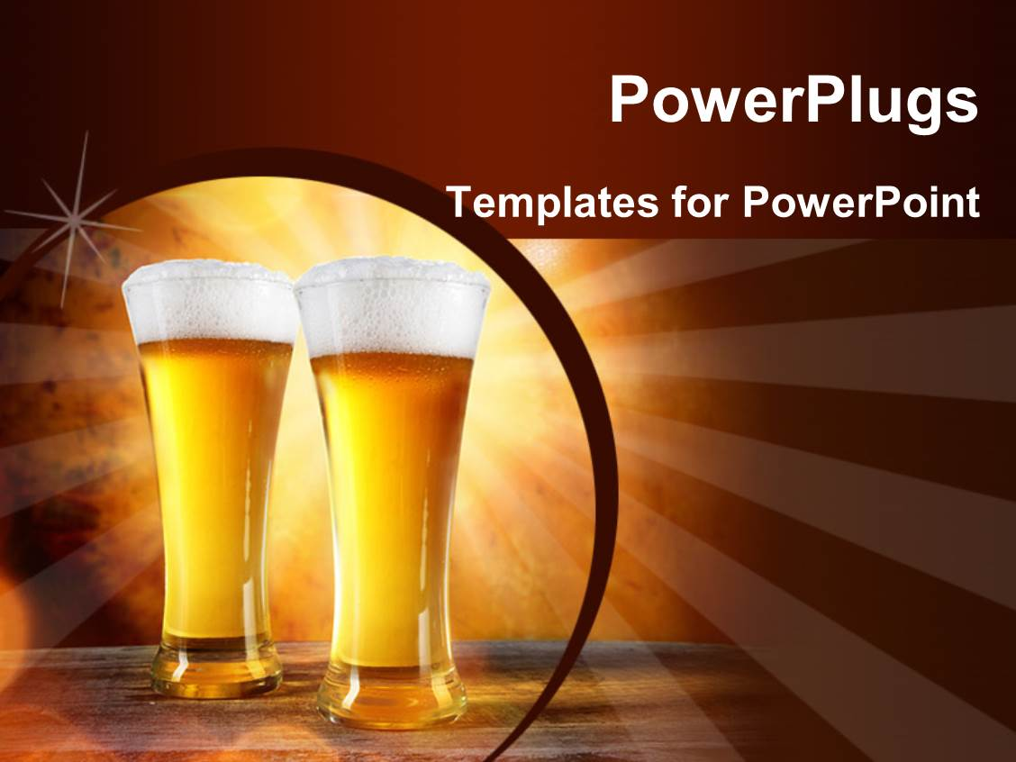 Powerpoint template beer cheers toast yellow background 6620 audience pleasing presentation theme featuring two beer glasses with brownish background toneelgroepblik Choice Image