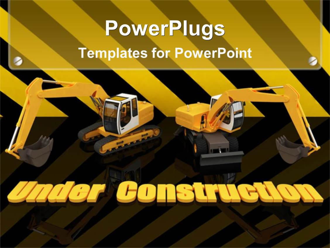 Construction powerpoint templates ppt themes with construction slide set enhanced with two construction machineries atop of yellow under construction words written on striped template size alramifo Images