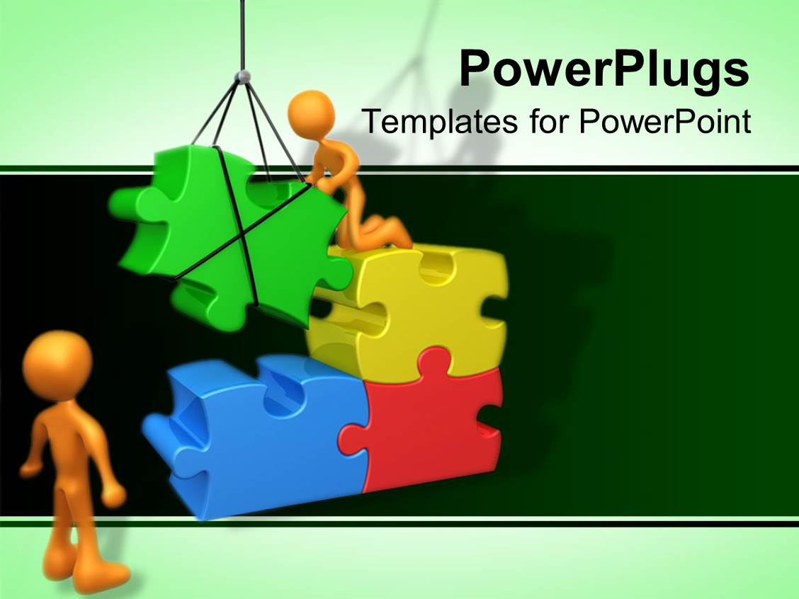 PowerPoint Template Displaying Two Figures Fixing Gigantic Puzzle Pieces Using Crane in Green Background