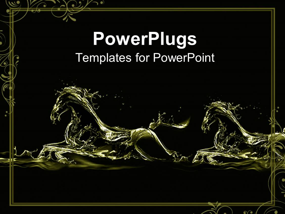 5000 horse racing powerpoint templates w horse racing themed amazing theme consisting of two fluid gold running horse silhouettes on black background with decorative frame toneelgroepblik Images