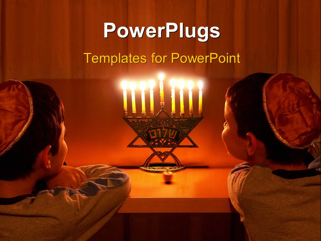 5000 jewish powerpoint templates w jewish themed backgrounds beautiful slide deck with two jewish boys steering at seven lit candles on a religious ornament template size toneelgroepblik Images