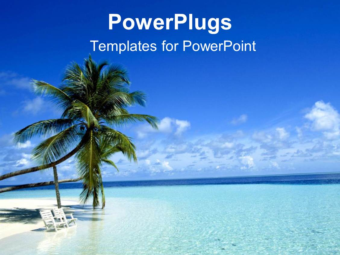 Beach template powerpoint choice image templates example free powerpoint template two palm trees on a white beach with chairs powerpoint template displaying two palm toneelgroepblik Gallery