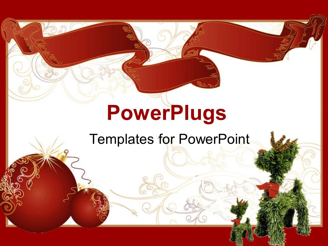 Invitation powerpoint templates ppt themes with invitation presentation having two red shinning christmas balls beside a christmas tree toy toneelgroepblik Images