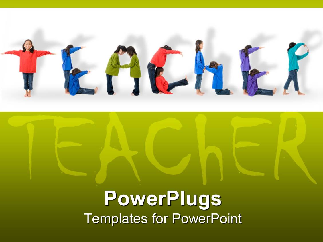 PowerPoint Template: Young smiling teacher with STUDY