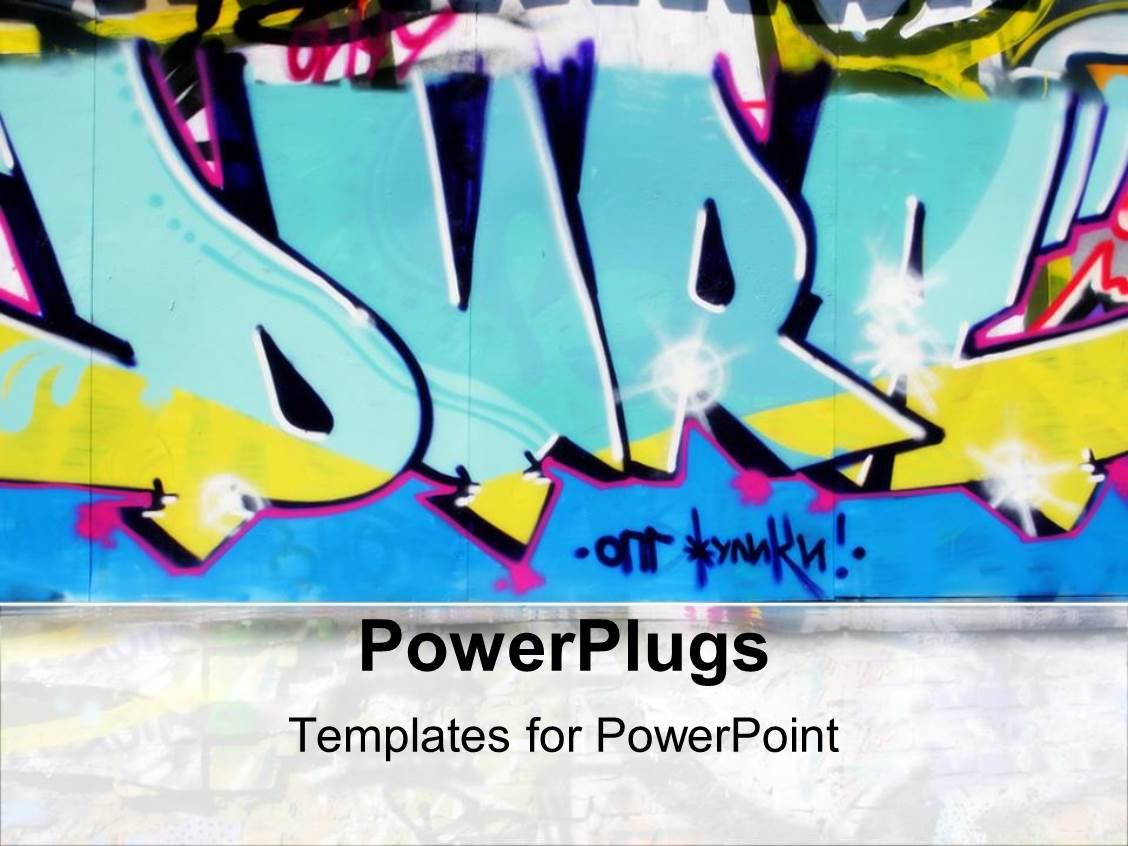 5000 urban powerpoint templates w urban themed backgrounds beautiful ppt theme with urban graffiti wall in blue yellow and pink toneelgroepblik Gallery