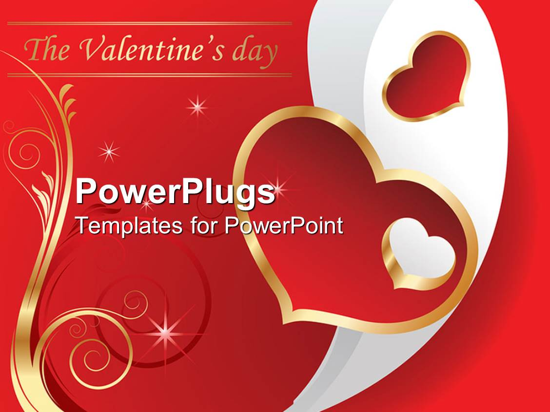 Powerpoint template valentines day theme with the valentines day powerpoint template displaying valentines day theme with the valentines day words hearts and golden swirled lines alramifo Gallery