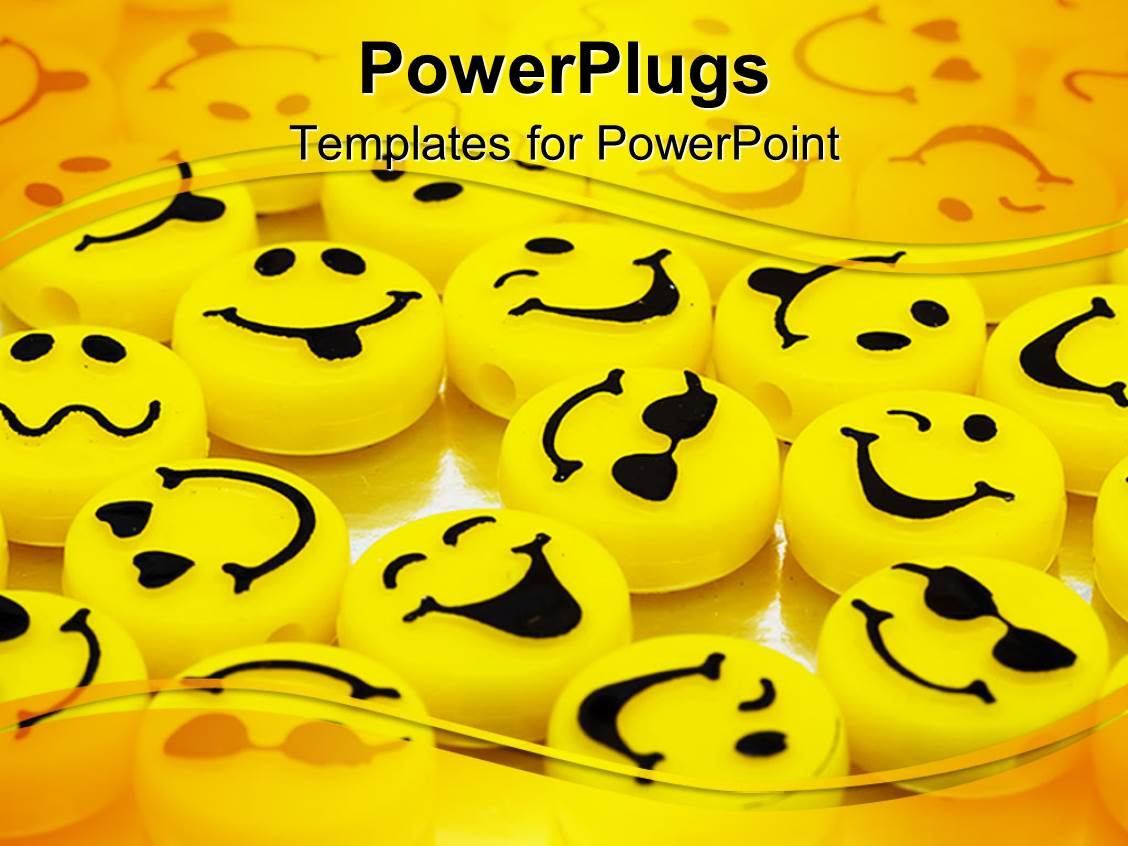 audience pleasing presentation theme featuring variation of yellow smiley faces yellow background