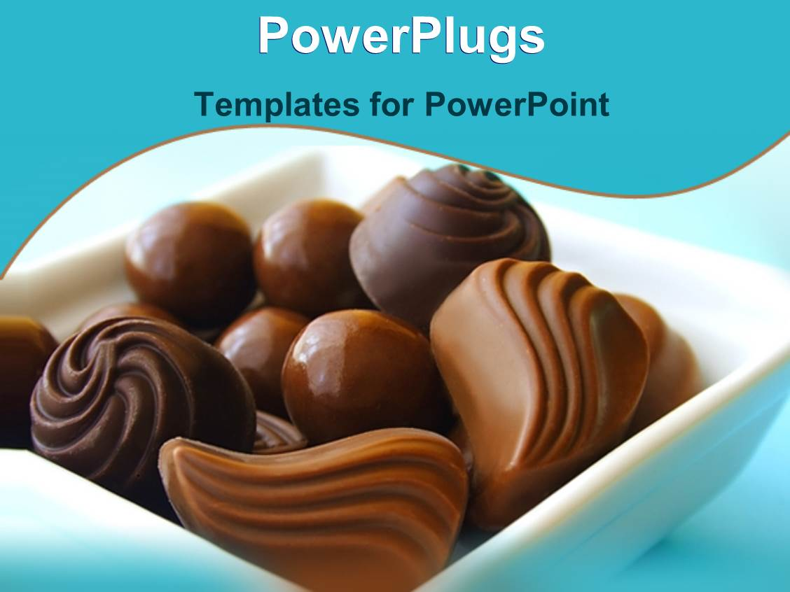 Powerpoint template various chocolate balls and chocolate candies powerpoint template displaying various chocolate balls and chocolate candies in a bowl on light blue background toneelgroepblik Choice Image