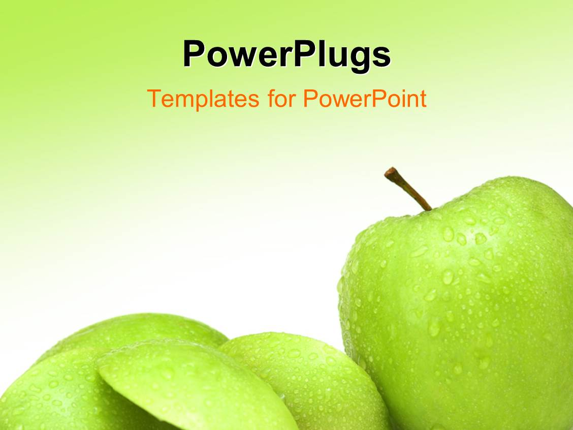 Powerpoint template various green apples with greenish background powerpoint template displaying various green apples with greenish background and place for text toneelgroepblik Images