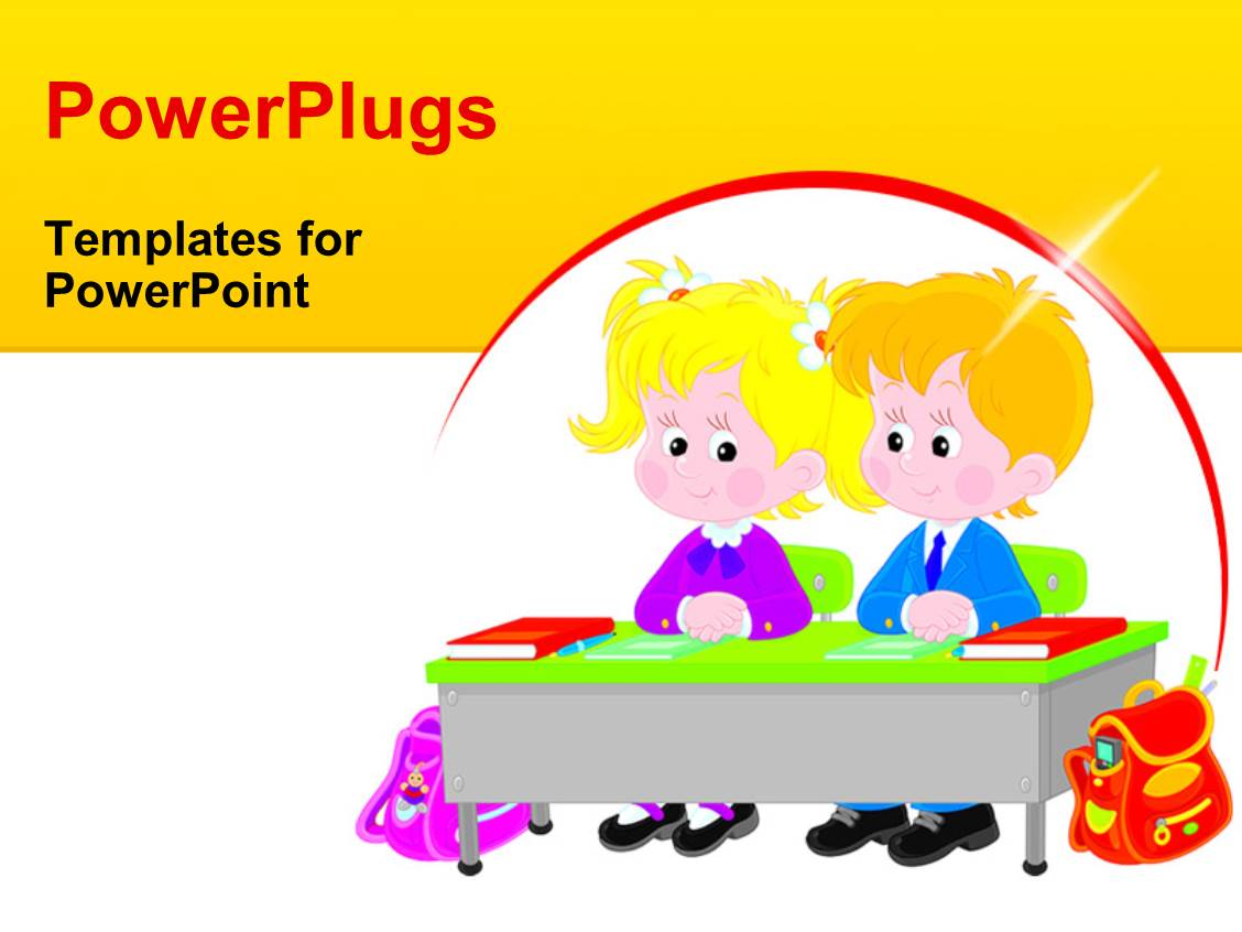 Powerpoint template children learning school elementary education ppt layouts with vector drawing of an elementary school students sitting at a desk in a toneelgroepblik Choice Image