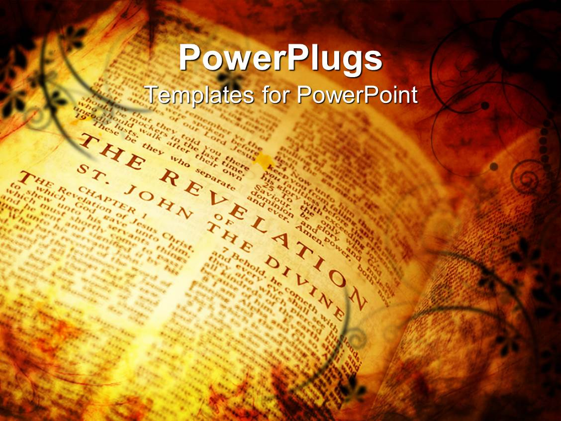Bible powerpoint templates ppt themes with bible backgrounds ppt theme having vintage style bible showing the book of revelations template size alramifo Images