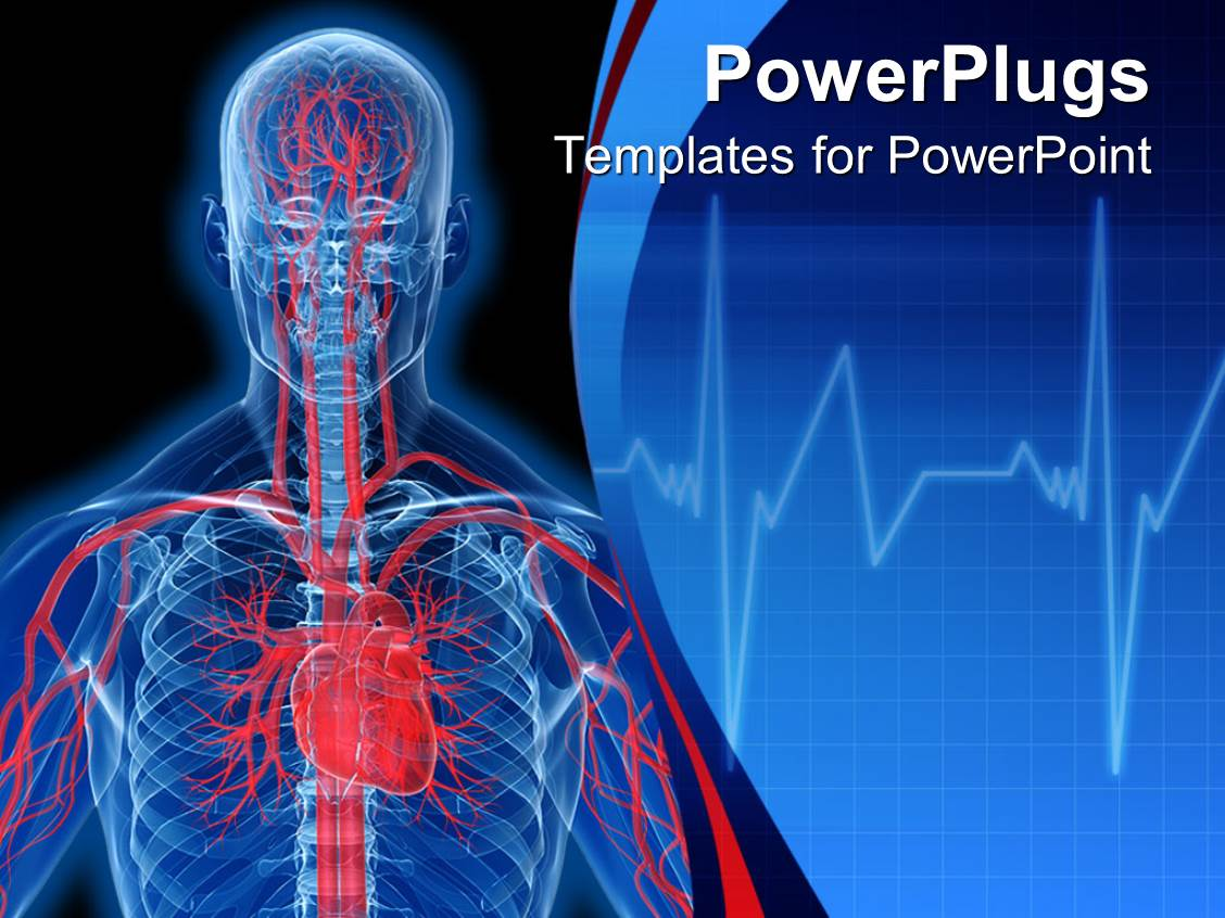 Powerpoint template visualization of human anatomy in blue with powerpoint template displaying visualization of human anatomy in blue with heart and veins in red alramifo Choice Image